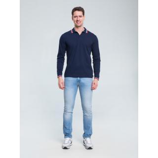 Big Star Mans Longsleeve Polo T-shirt 154558 -403 pánské Blue M