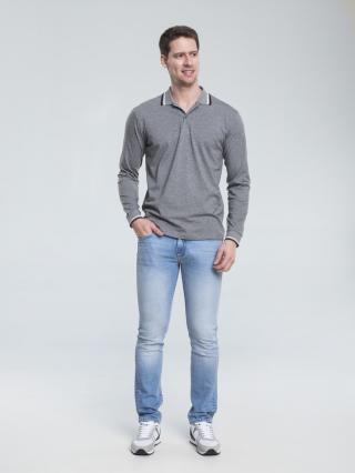 Big Star Mans Longsleeve Polo T-shirt 154558 Dark -903 pánské Grey XL