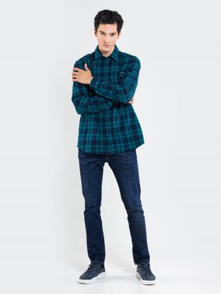 Big Star Mans Longsleeve Shirt 141750 Turquoise-302 pánské Blue M