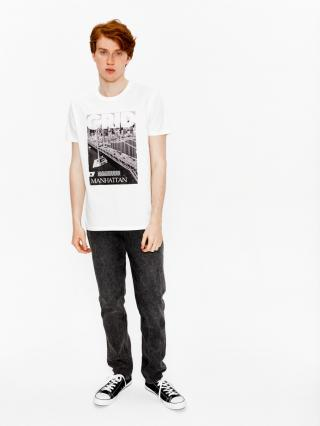 Big Star Mans Shortsleeve T-shirt 154410 -101 pánské Cream XL