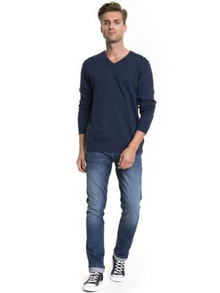 Big Star Mans V-neck Sweater 161944 Navy Blue-485 pánské M