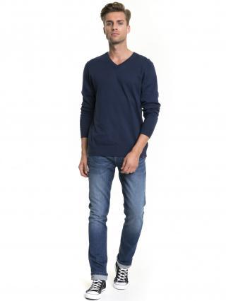 Big Star Mans V-neck Sweater 161944 Navy Blue-485 pánské XL