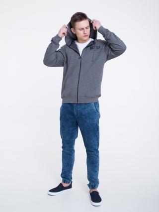 Big Star Mans Zip Hooded Sweatshirt 154566 Dark -903 pánské Grey XL