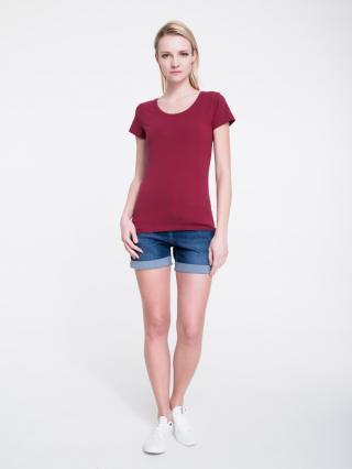 Big Star Womans Shortsleeve T-shirt 158849 Burgundy-604 dámské Red M