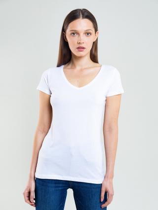 Big Star Womans Shortsleeve V-neck T-shirt 150043 -101 dámské Cream L