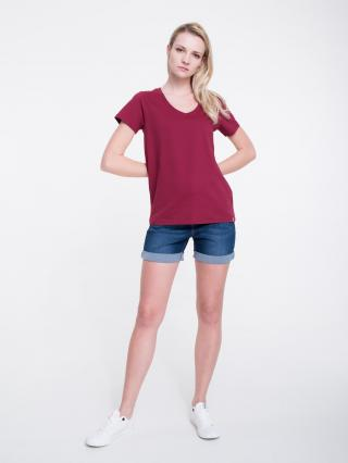 Big Star Womans Shortsleeve V-neck T-shirt 158862 Burgundy-604 dámské Red S