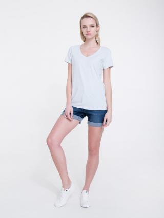 Big Star Womans Shortsleeve V-neck T-shirt 158862 Light -400 dámské Blue S