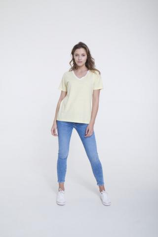 Big Star Womans Shortsleeve V-neck T-shirt 158869 -200 dámské Light Yellow M