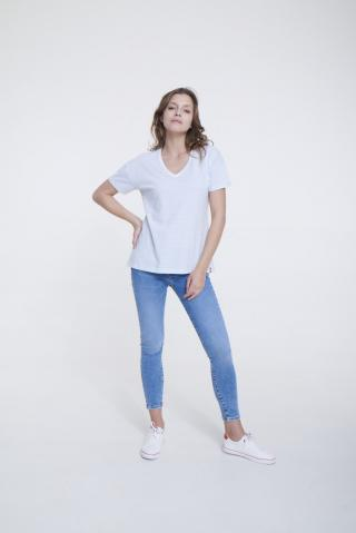 Big Star Womans Shortsleeve V-neck T-shirt 158869 Light -400 dámské Blue M
