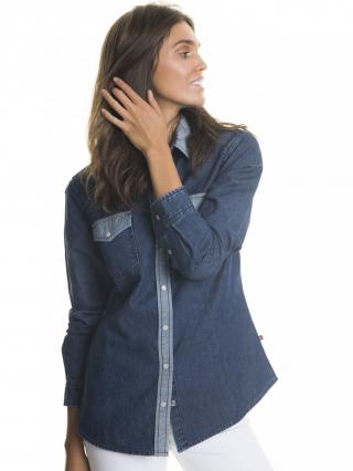 Big Star Womans Slim Longsleeve Shirt 145674 -500 dámské Dark Jeans L
