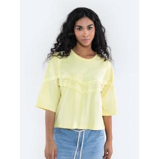 Big Star Womans T-shirt_ss T-shirt 152014 Brak Knitted-200 dámské Light Yellow S