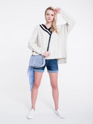 Big Star Womans V-neck Sweater 162003 Pearl-103 dámské White One size
