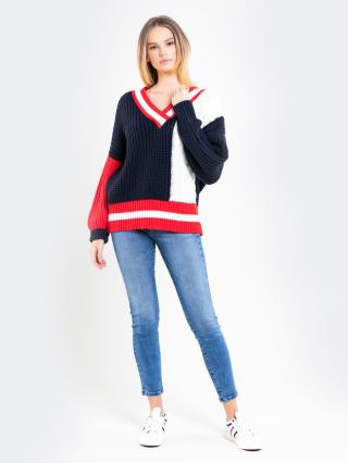 Big Star Womans V-neck Sweater 162004 Multicolour-0 dámské wzorzysty One size