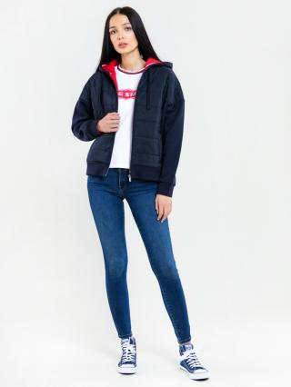 Big Star Womans Zip Hooded Sweatshirt 174247 -403 dámské Blue S