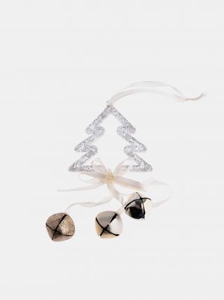 Bílá dřevěná závěsná vánoční dekorace Dakls