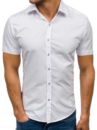 Bílá pánská elegantní košile s krátkým rukávem Bolf 7501 XL