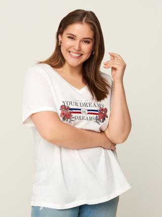 Bílé tričko s potiskem Zizzi dámské bílá XL-XXL