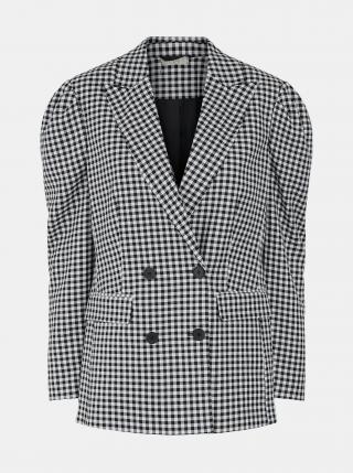 Bílo-černé kostkované sako Pieces dámské černá XS