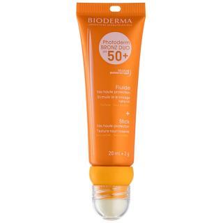 Bioderma Photoderm Bronz DUO ochranný fluid na obličej a balzám na rty SPF 50  20 ml   2 g dámské 2 g