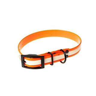 Biothanový obojek neonový - oranžový, šířka 25 mm, obvod 30 cm
