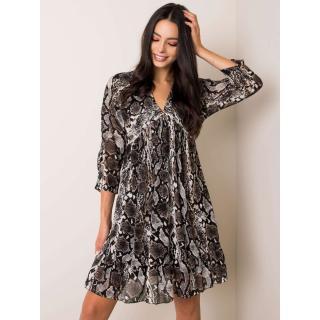Black and beige dress with a frill dámské Neurčeno One size
