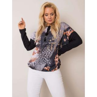Black and gray plus size blouse with a printed design dámské Neurčeno XL