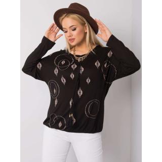 Black plus size blouse with a print dámské Neurčeno XL