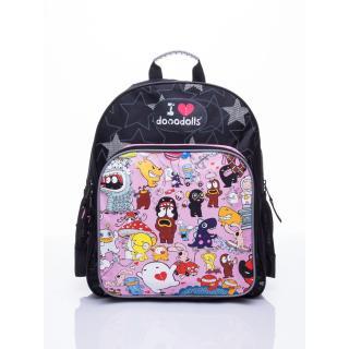 Black school backpack with a Dooodolls motif Neurčeno One size
