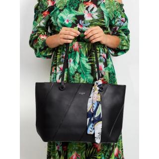 Black shopper bag with a scarf dámské Neurčeno One size