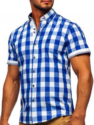 Blankytná pánská kostkovaná košile s kratkým rukávem Bolf 4508 XL