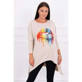 Blouse oversize with rainbow lips print beige dámské Neurčeno One size