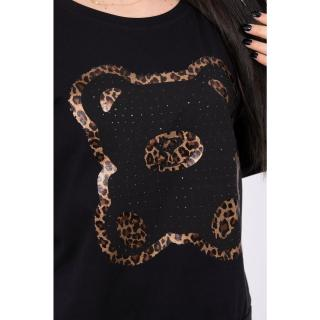 Blouse with bear print black S/M - L/XL dámské Neurčeno S