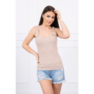 Blouse with fastened shoulder straps beige dámské Neurčeno One size