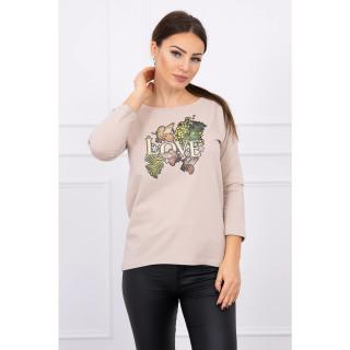 Blouse with Love print beige dámské Neurčeno One size