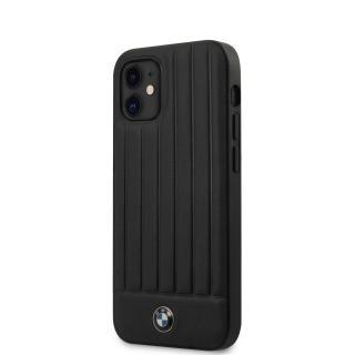 BMW Leather Hot Stamp Vertical Lines kryt BMHCP12SPOCBK Apple iPhone 12 mini black