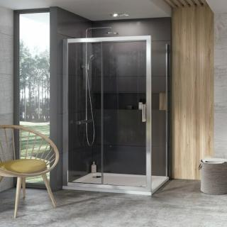Boční zástěna ke sprchovým dveřím 100x190 cm Ravak 10° chrom matný 9UVA0U00Z1 satin