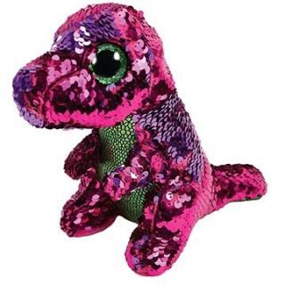 BOOS Flippables STOMPY, 15 cm - flitrový růžovo-green dinosaurus
