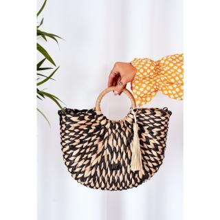 Braided Handbag Basket NOBO XK0490 Beige-Black Other UNIVERZÁLNÍ