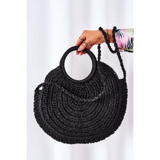 Braided Round Bag BRUNO ROSSI Black Other UNIVERZÁLNÍ