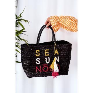 Braided Shopper Beach Bag NOBO XK00410 Black Other UNIVERZÁLNÍ