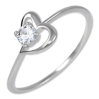 Brilio Zásnubní prsten s krystalem Srdce 226 001 01033 07 56 mm