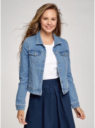 Bunda džínová klasická OODJI dámské modrá XL