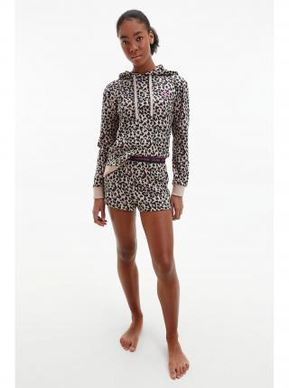 Calvin Klein béžové domácí kraťasy Sleep Short s leopardím vzorem dámské béžová XS