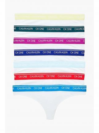 Calvin Klein bílá tanga 7 pack Thong White Bodies W/Multi WB dámské XL