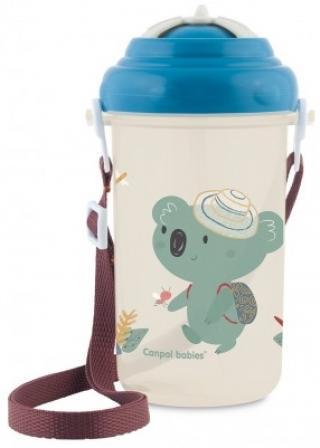 CANPOL BABIES Cestovní sportovní láhev se slámkou a víčkem 400 ml – Koala modrá