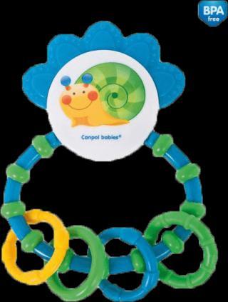CANPOL BABIES Chrastítko s kousátkem Happy Garden – modrá