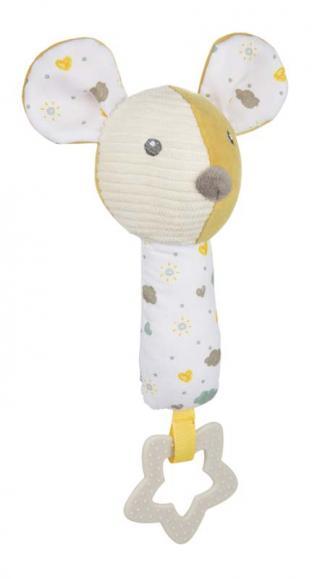 CANPOL BABIES Hebká pískací činka s kousátkem Mouse žlutá