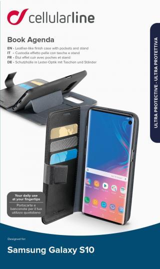 CellularLine Book Agenda flipové pouzdro pro Samsung Galaxy S10, černá