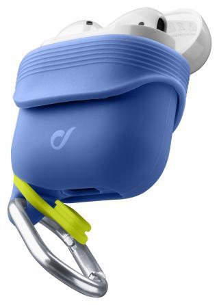 Cellularline Dynamic silikonový kryt pro Apple AirPods 1&2 s nástavci za ucho, modrý
