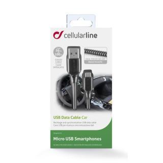 CELLULARLINE Kroucený USB datový kabel s konektorem microUSB, černý